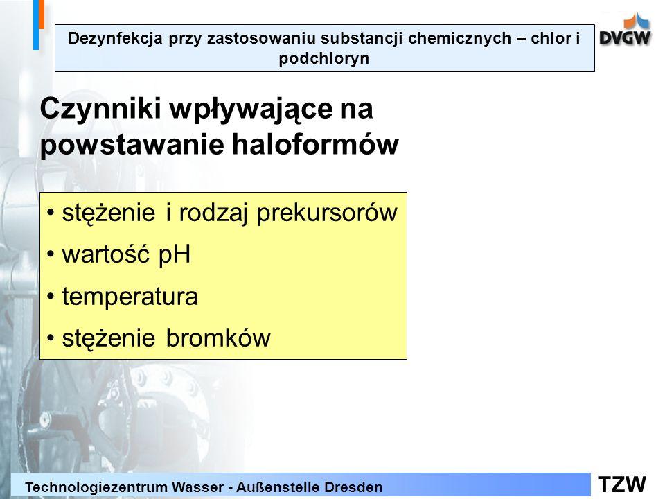 TZW Technologiezentrum Wasser - Außenstelle Dresden Dezynfekcja przy zastosowaniu substancji chemicznych – chlor i podchloryn Czynniki wpływające na powstawanie haloformów stężenie i rodzaj prekursorów wartość pH temperatura stężenie bromków