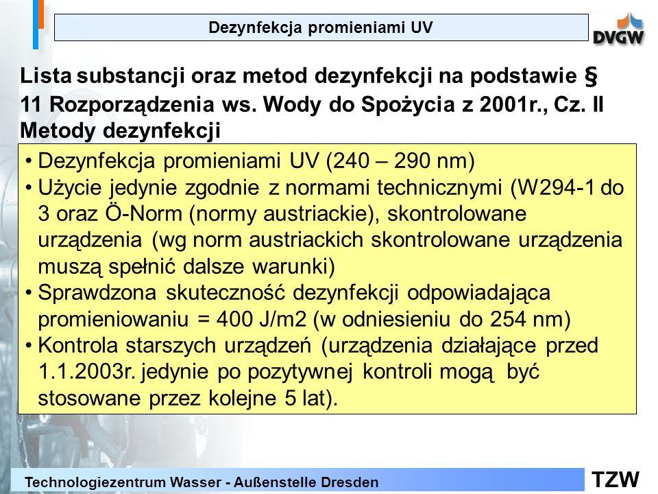 TZW Technologiezentrum Wasser - Außenstelle Dresden Dezynfekcja promieniami UV Lista substancji oraz metod dezynfekcji na podstawie § 11 Rozporządzeni