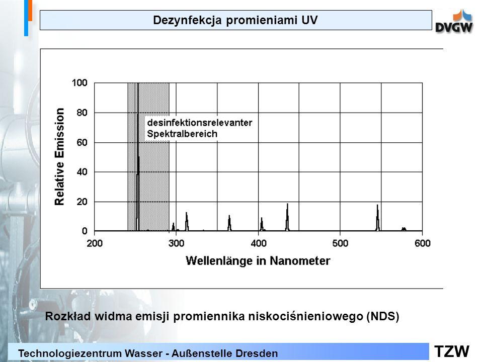 TZW Technologiezentrum Wasser - Außenstelle Dresden Dezynfekcja promieniami UV Rozkład widma emisji promiennika niskociśnieniowego (NDS)
