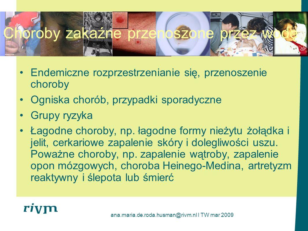 ana.maria.de.roda.husman@rivm.nl I TW mar 2009 Endemiczne rozprzestrzenianie się, przenoszenie choroby Ogniska chorób, przypadki sporadyczne Grupy ryz
