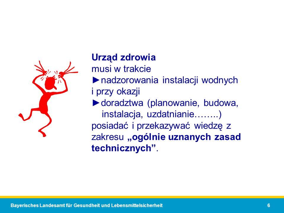 Bayerisches Landesamt für Gesundheit und Lebensmittelsicherheit 6 Urząd zdrowia musi w trakcienadzorowania instalacji wodnych i przy okazjidoradztwa (