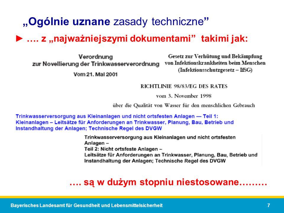Bayerisches Landesamt für Gesundheit und Lebensmittelsicherheit 7 Ogólnie uznane zasady techniczne …. z najważniejszymi dokumentami takimi jak: …. są