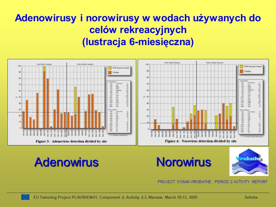 EU Twinning Project PL06/IB/EN/01, Component 2, Activity 2.3, Warsaw, March 09-13, 2009 Selinka Adenowirusy i norowirusy w wodach używanych do celów rekreacyjnych (lustracja 6-miesięczna) PROJECT 513648-VIROBATHE, PERIOD 2 ACTIVITY REPORT Adenowirus Norowirus