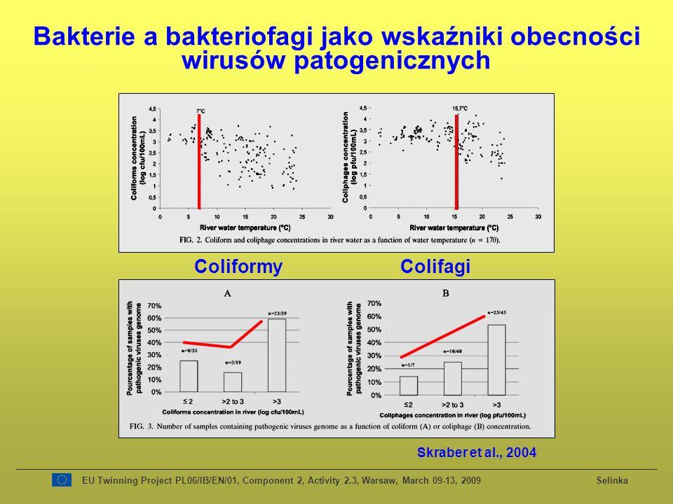 Bakterie a bakteriofagi jako wskaźniki obecności wirusów patogenicznych Coliformy Colifagi Skraber et al., 2004 EU Twinning Project PL06/IB/EN/01, Component 2, Activity 2.3, Warsaw, March 09-13, 2009 Selinka