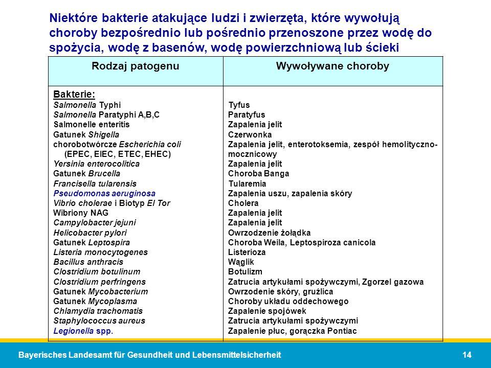 Bayerisches Landesamt für Gesundheit und Lebensmittelsicherheit 14 Niektóre bakterie atakujące ludzi i zwierzęta, które wywołują choroby bezpośrednio lub pośrednio przenoszone przez wodę do spożycia, wodę z basenów, wodę powierzchniową lub ścieki Rodzaj patogenuWywoływane choroby Bakterie: Salmonella Typhi Salmonella Paratyphi A,B,C Salmonelle enteritis Gatunek Shigella chorobotwórcze Escherichia coli (EPEC, EIEC, ETEC, EHEC) Yersinia enterocolitica Gatunek Brucella Francisella tularensis Pseudomonas aeruginosa Vibrio cholerae i Biotyp El Tor Wibriony NAG Campylobacter jejuni Helicobacter pylori Gatunek Leptospira Listeria monocytogenes Bacillus anthracis Clostridium botulinum Clostridium perfringens Gatunek Mycobacterium Gatunek Mycoplasma Chlamydia trachomatis Staphylococcus aureus Legionella spp.
