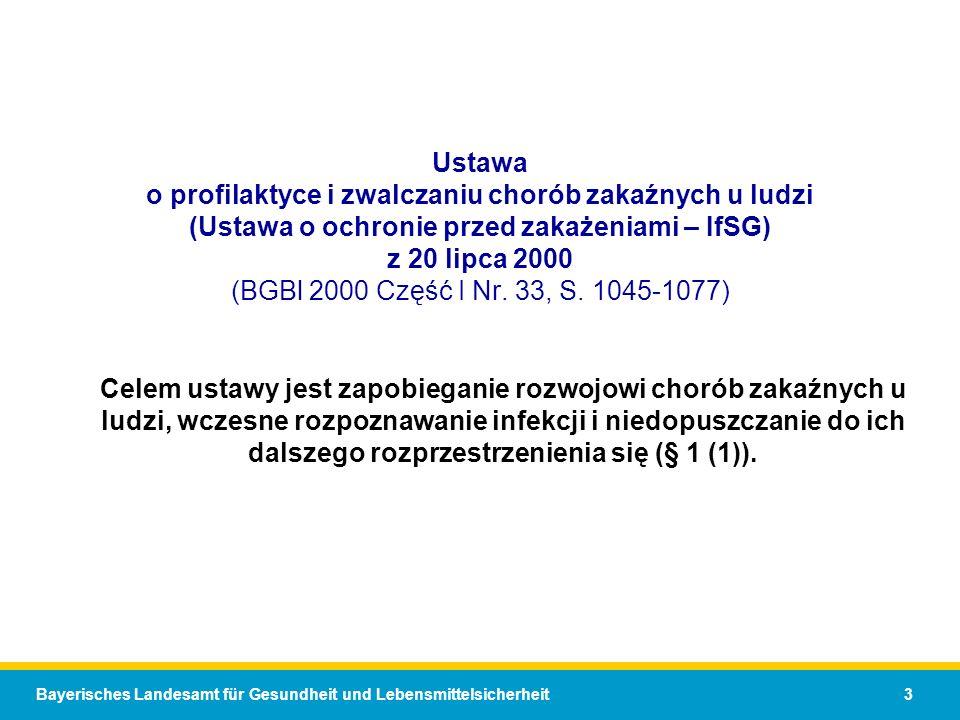 Bayerisches Landesamt für Gesundheit und Lebensmittelsicherheit 3 Ustawa o profilaktyce i zwalczaniu chorób zakaźnych u ludzi (Ustawa o ochronie przed zakażeniami – IfSG) z 20 lipca 2000 (BGBl 2000 Część I Nr.