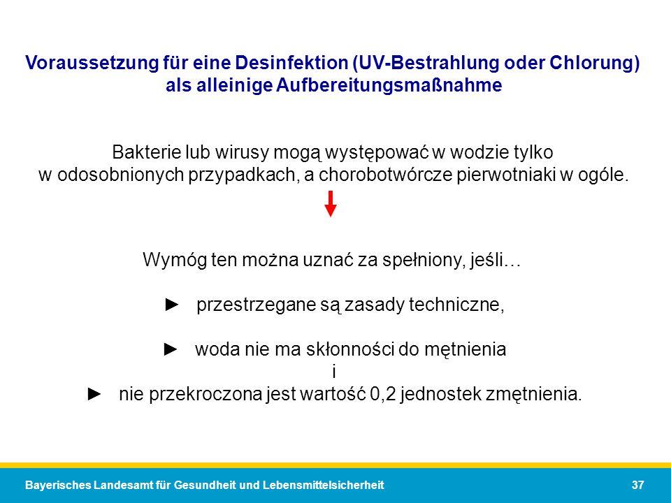 Bayerisches Landesamt für Gesundheit und Lebensmittelsicherheit 37 Voraussetzung für eine Desinfektion (UV-Bestrahlung oder Chlorung) als alleinige Aufbereitungsmaßnahme Bakterie lub wirusy mogą występować w wodzie tylko w odosobnionych przypadkach, a chorobotwórcze pierwotniaki w ogóle.