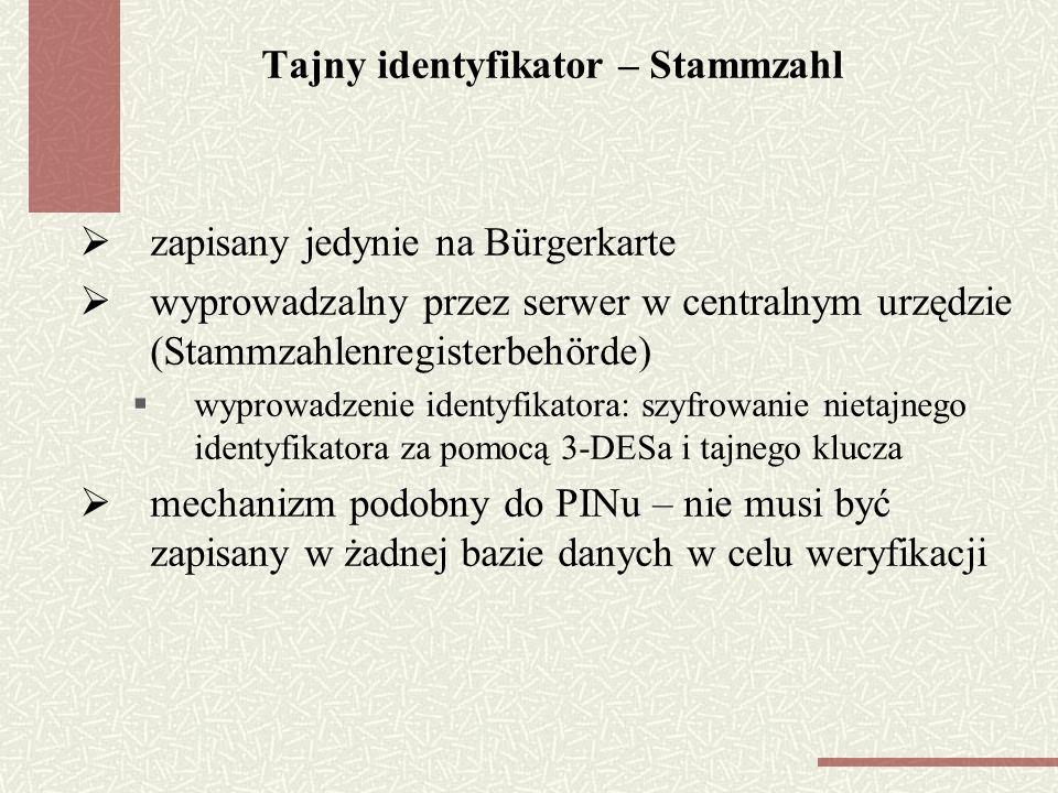 Tajny identyfikator – Stammzahl zapisany jedynie na Bürgerkarte wyprowadzalny przez serwer w centralnym urzędzie (Stammzahlenregisterbehörde) wyprowadzenie identyfikatora: szyfrowanie nietajnego identyfikatora za pomocą 3-DESa i tajnego klucza mechanizm podobny do PINu – nie musi być zapisany w żadnej bazie danych w celu weryfikacji