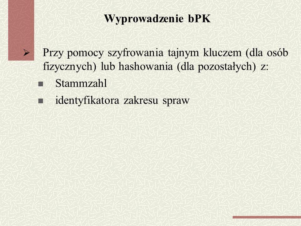 Wyprowadzenie bPK Przy pomocy szyfrowania tajnym kluczem (dla osób fizycznych) lub hashowania (dla pozostałych) z: Stammzahl identyfikatora zakresu spraw