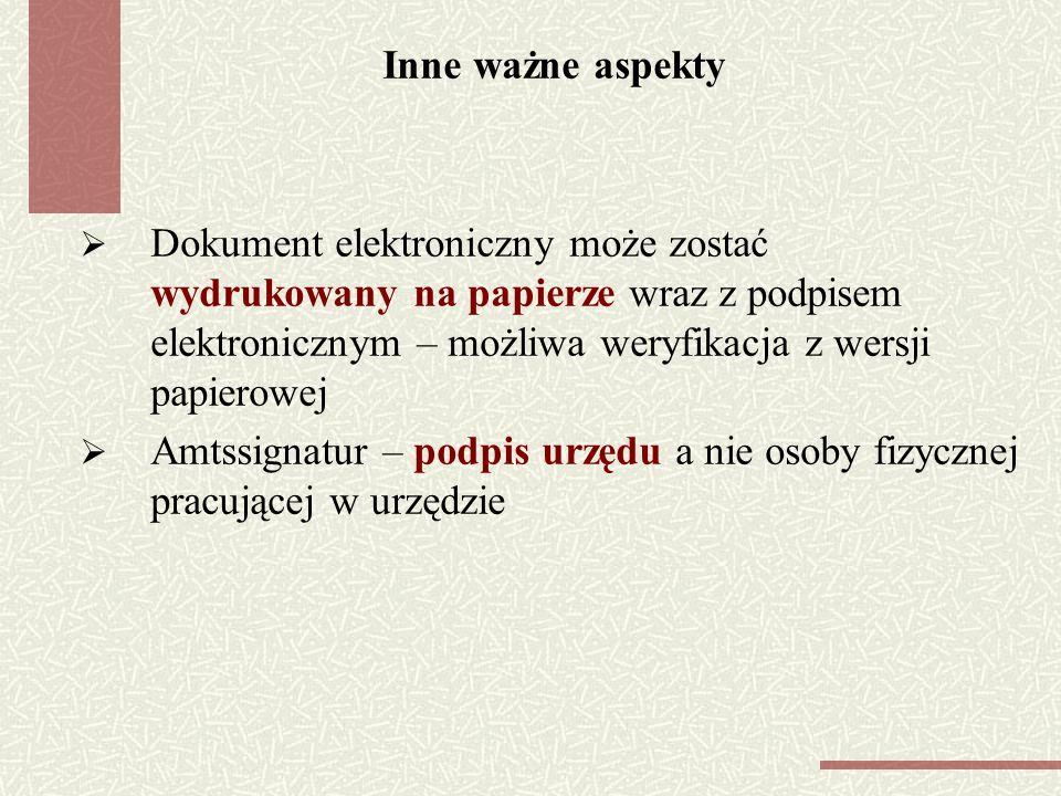 Inne ważne aspekty Dokument elektroniczny może zostać wydrukowany na papierze wraz z podpisem elektronicznym – możliwa weryfikacja z wersji papierowej Amtssignatur – podpis urzędu a nie osoby fizycznej pracującej w urzędzie