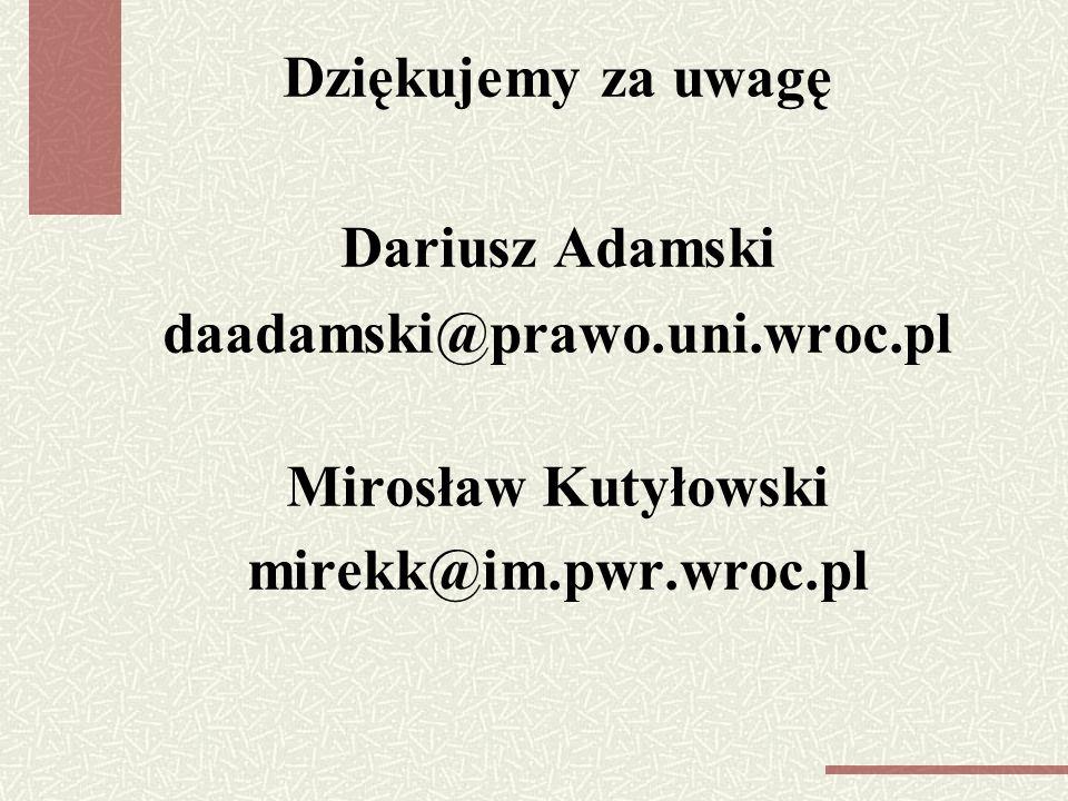 Dziękujemy za uwagę Dariusz Adamski daadamski@prawo.uni.wroc.pl Mirosław Kutyłowski mirekk@im.pwr.wroc.pl