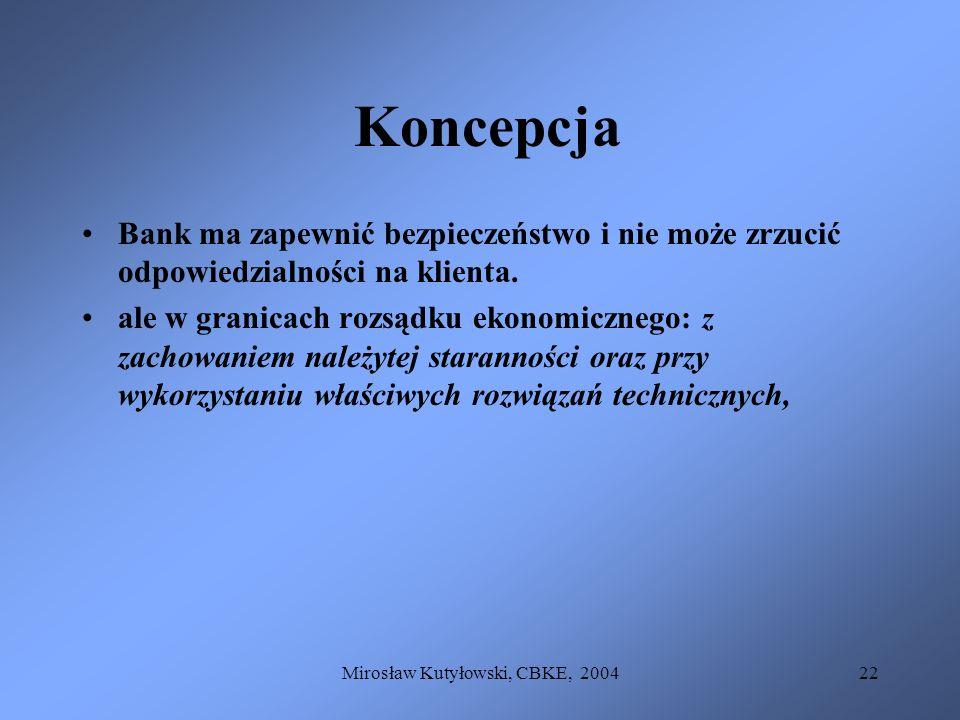 Mirosław Kutyłowski, CBKE, 200422 Koncepcja Bank ma zapewnić bezpieczeństwo i nie może zrzucić odpowiedzialności na klienta. ale w granicach rozsądku