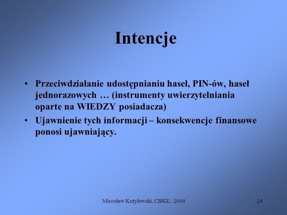 Mirosław Kutyłowski, CBKE, 200424 Intencje Przeciwdziałanie udostępnianiu haseł, PIN-ów, haseł jednorazowych … (instrumenty uwierzytelniania oparte na