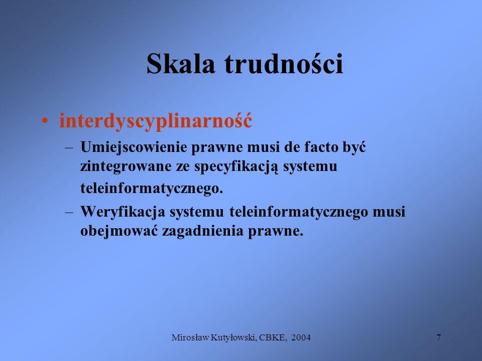 Mirosław Kutyłowski, CBKE, 20047 Skala trudności interdyscyplinarność –Umiejscowienie prawne musi de facto być zintegrowane ze specyfikacją systemu te