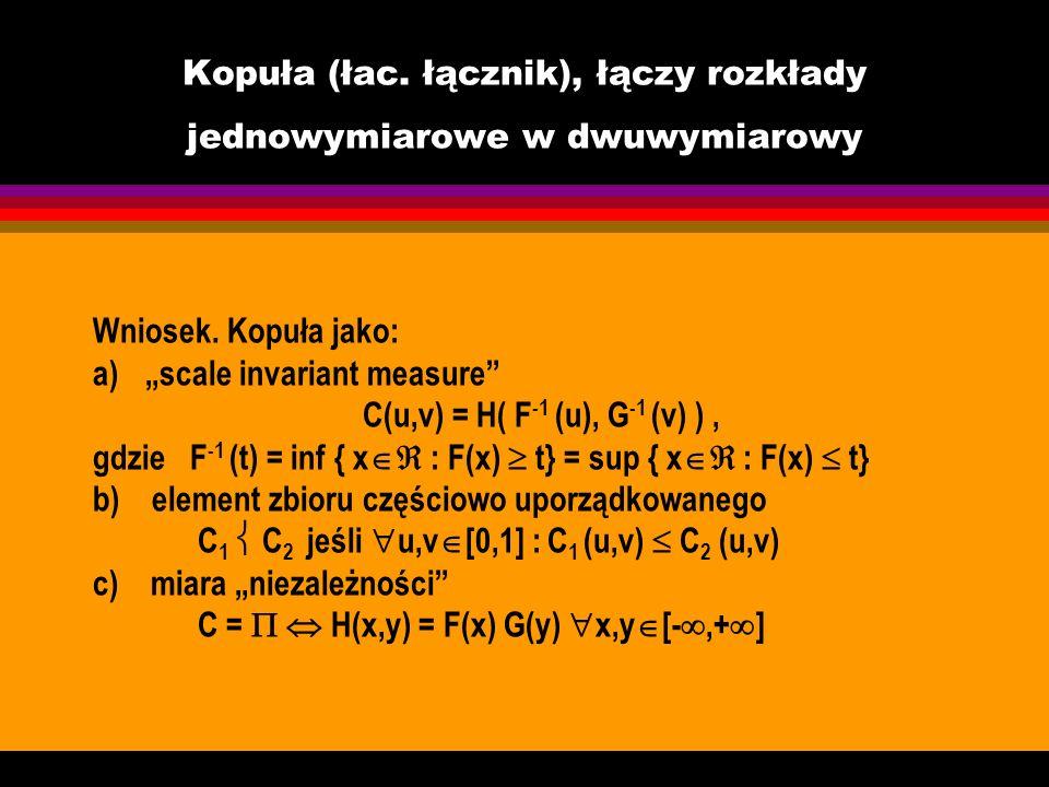 Kopuła (łac. łącznik), łączy rozkłady jednowymiarowe w dwuwymiarowy Wniosek. Kopuła jako: a)scale invariant measure C(u,v) = H( F -1 (u), G -1 (v) ),
