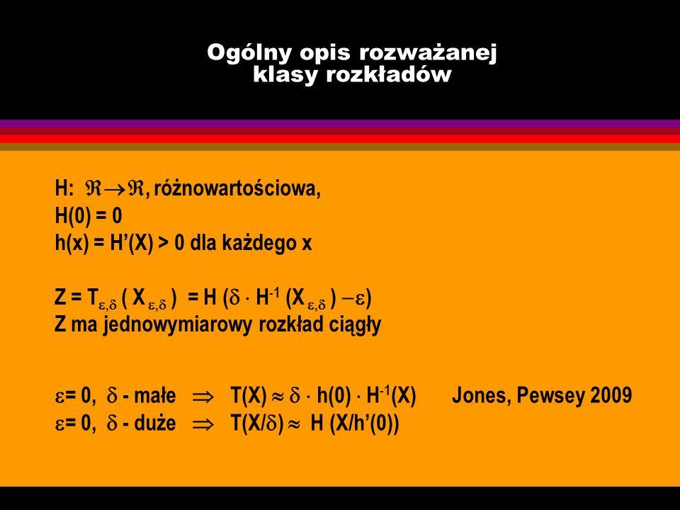 Ogólny opis rozważanej klasy rozkładów H:, różnowartościowa, H(0) = 0 h(x) = H(X) > 0 dla każdego x Z = T, ( X, ) = H ( H -1 (X, ) ) Z ma jednowymiaro