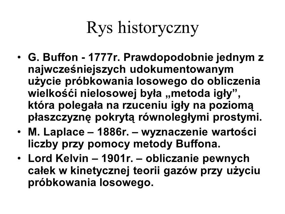 Rys historyczny G. Buffon - 1777r. Prawdopodobnie jednym z najwcześniejszych udokumentowanym użycie próbkowania losowego do obliczenia wielkośći nielo