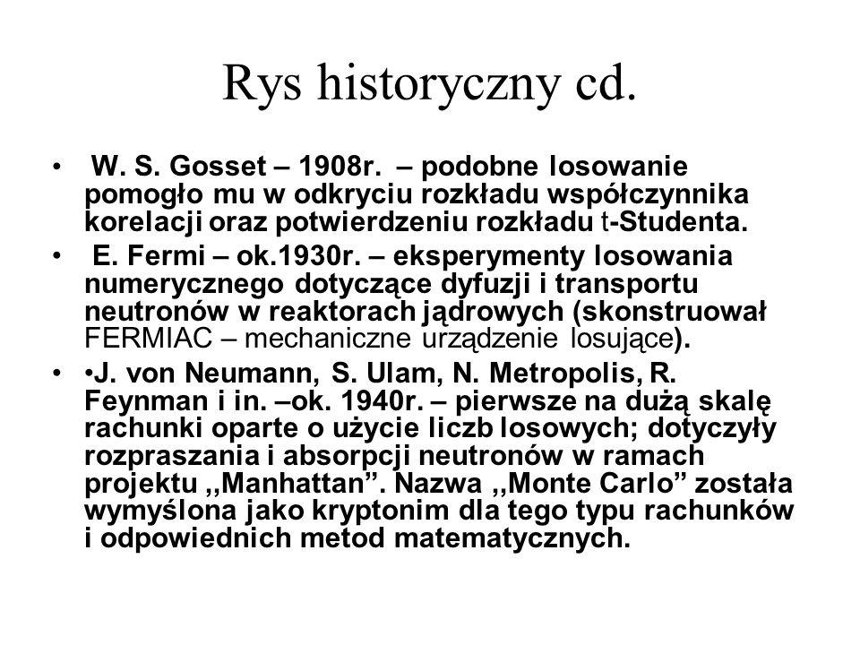 Rys historyczny cd. W. S. Gosset – 1908r. – podobne losowanie pomogło mu w odkryciu rozkładu współczynnika korelacji oraz potwierdzeniu rozkładu t-Stu