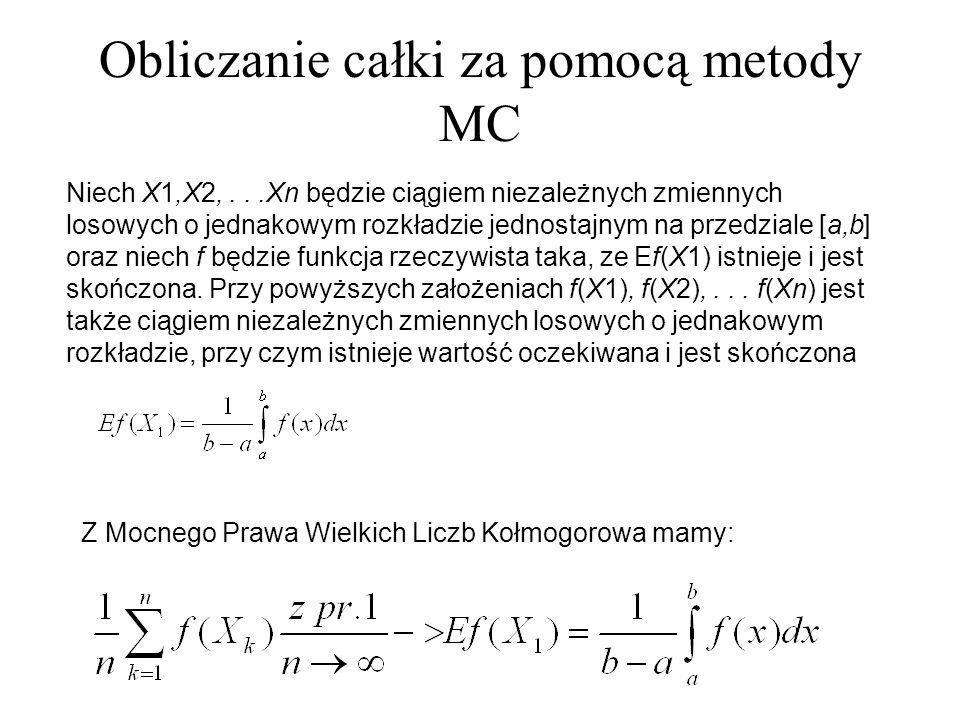 Obliczanie całki za pomocą metody MC Niech X1,X2,...Xn będzie ciągiem niezależnych zmiennych losowych o jednakowym rozkładzie jednostajnym na przedzia