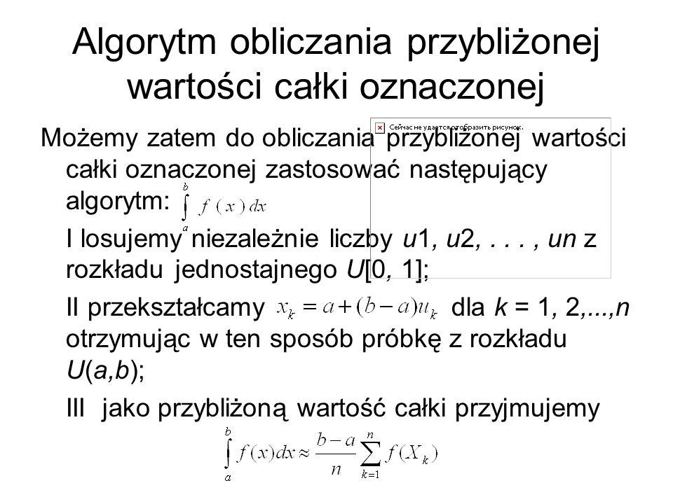 Algorytm obliczania przybliżonej wartości całki oznaczonej Możemy zatem do obliczania przybliżonej wartości całki oznaczonej zastosować następujący al