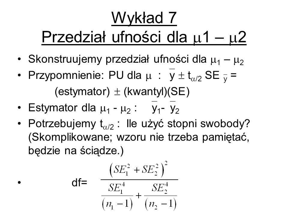 Wykład 7 Przedział ufności dla 1 – 2 Skonstruujemy przedział ufności dla 1 – 2 Przypomnienie: PU dla : y t /2 SE y = (estymator) (kwantyl)(SE) Estymat