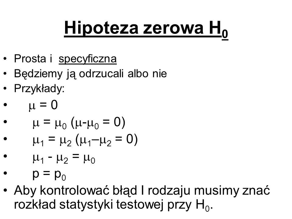 Hipoteza zerowa H 0 Prosta i specyficzna Będziemy ją odrzucali albo nie Przykłady: = 0 = 0 ( - 0 = 0) 1 = 2 ( 1 – 2 = 0) 1 - 2 = 0 p = p 0 Aby kontrol
