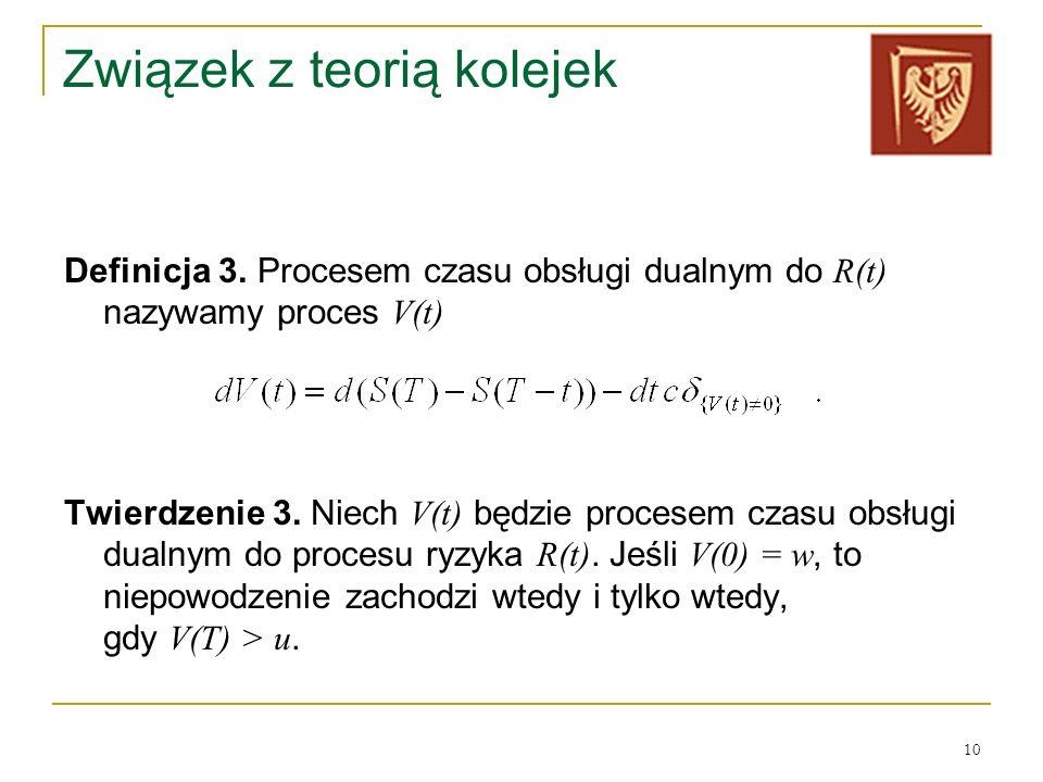 10 Związek z teorią kolejek Definicja 3. Procesem czasu obsługi dualnym do R(t) nazywamy proces V(t) Twierdzenie 3. Niech V(t) będzie procesem czasu o