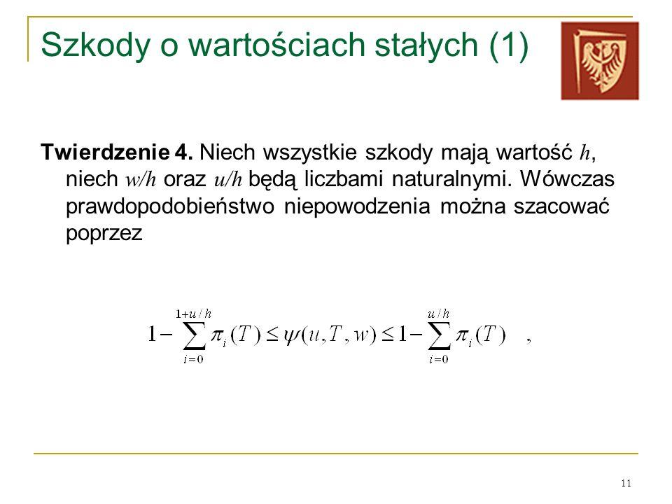 11 Szkody o wartościach stałych (1) Twierdzenie 4. Niech wszystkie szkody mają wartość h, niech w/h oraz u/h będą liczbami naturalnymi. Wówczas prawdo