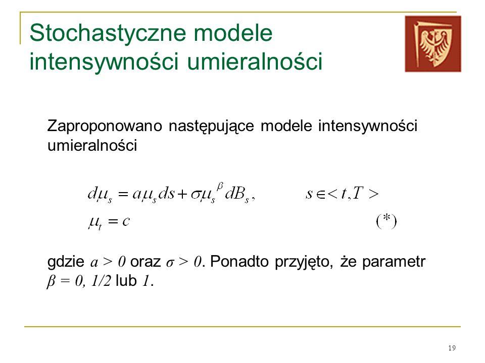 19 Stochastyczne modele intensywności umieralności Zaproponowano następujące modele intensywności umieralności gdzie a > 0 oraz σ > 0. Ponadto przyjęt
