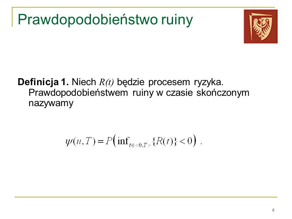 6 Prawdopodobieństwo ruiny Definicja 1. Niech R(t) będzie procesem ryzyka. Prawdopodobieństwem ruiny w czasie skończonym nazywamy