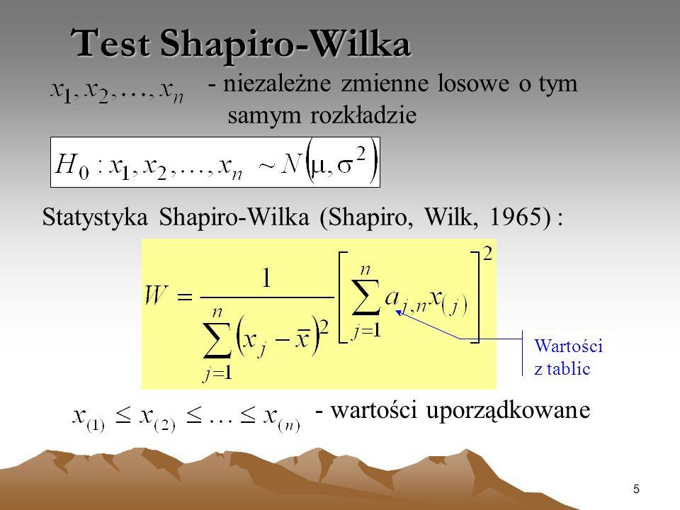 5 Test Shapiro-Wilka Statystyka Shapiro-Wilka (Shapiro, Wilk, 1965) : - niezależne zmienne losowe o tym samym rozkładzie - wartości uporządkowane Wart