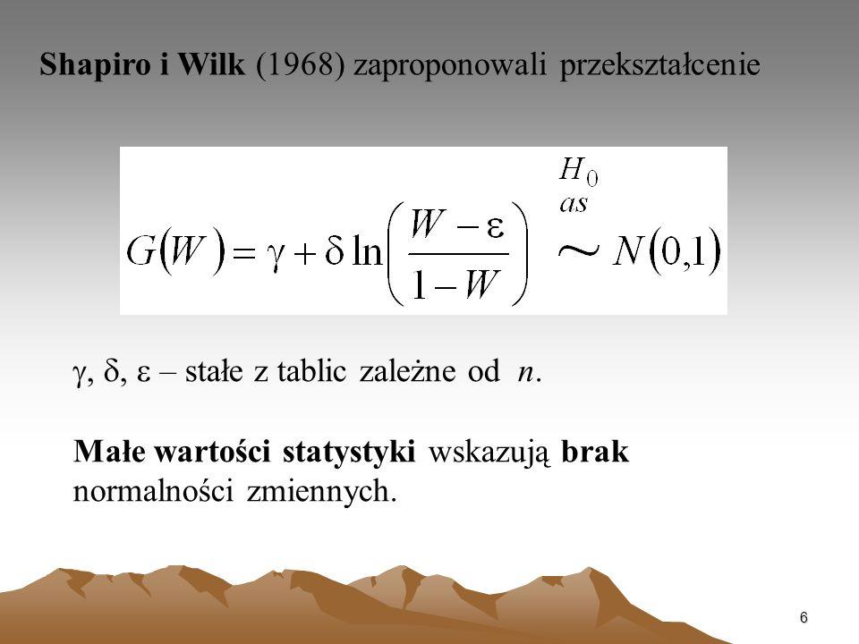 6 Shapiro i Wilk (1968) zaproponowali przekształcenie,, – stałe z tablic zależne od n. Małe wartości statystyki wskazują brak normalności zmiennych.