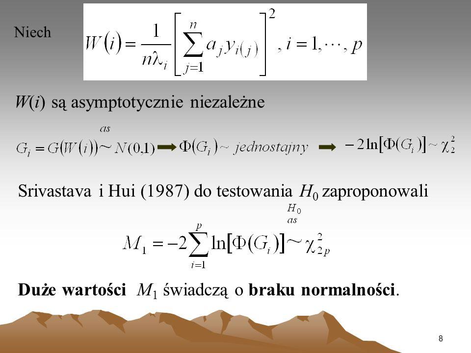 8 Niech W(i) są asymptotycznie niezależne Srivastava i Hui (1987) do testowania H 0 zaproponowali Duże wartości M 1 świadczą o braku normalności.