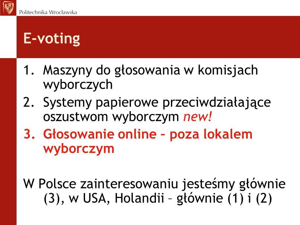 Wymagania: zaufanie bezpieczeństwo systemu wyborczego nie powinno opierać się na założeniu o uczciwości określonego software u, hardware u, określonej osoby lub grupy osób zaufany komponent = to element systemu poza kontrolą, potencjalny cel ataku