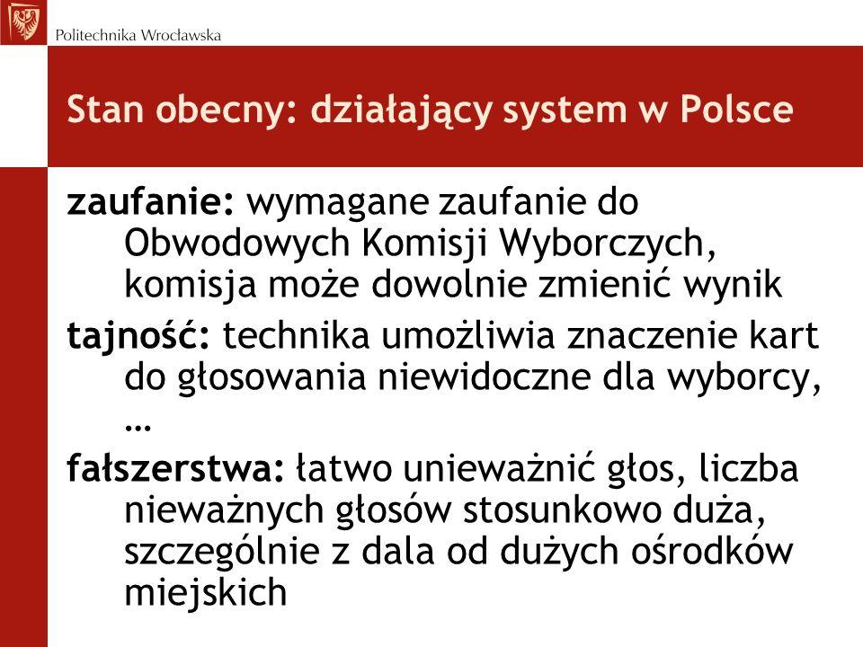 Stan obecny: działający system w Polsce zaufanie: wymagane zaufanie do Obwodowych Komisji Wyborczych, komisja może dowolnie zmienić wynik tajność: tec