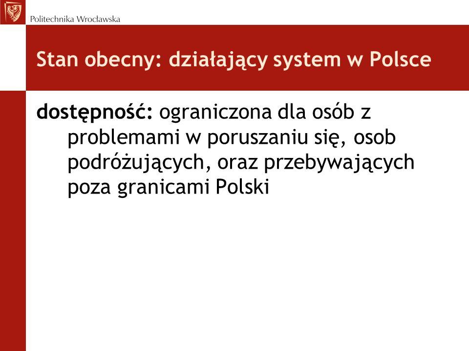 Stan obecny: działający system w Polsce dostępność: ograniczona dla osób z problemami w poruszaniu się, osob podróżujących, oraz przebywających poza g