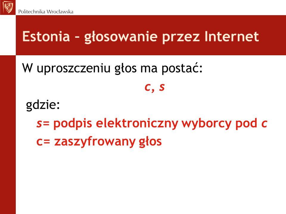 Estonia – głosowanie przez Internet W uproszczeniu głos ma postać: c, s gdzie: s= podpis elektroniczny wyborcy pod c c= zaszyfrowany głos
