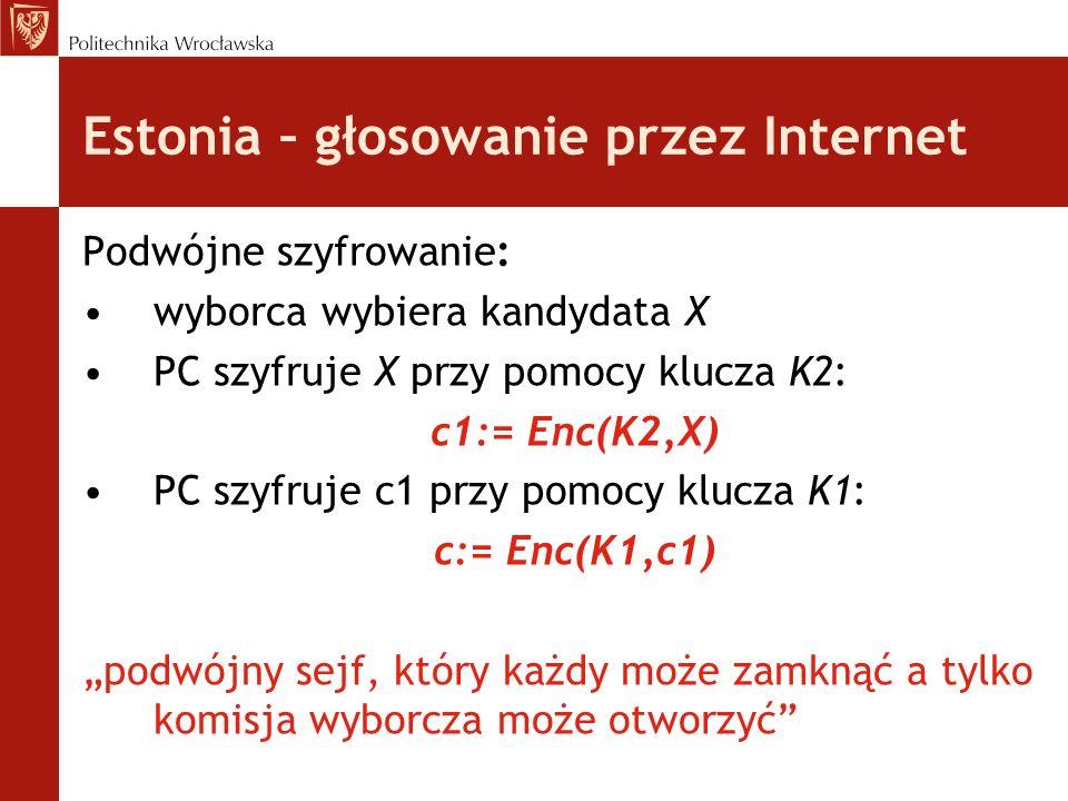 Estonia – głosowanie przez Internet Podwójne szyfrowanie: wyborca wybiera kandydata X PC szyfruje X przy pomocy klucza K2: c1:= Enc(K2,X) PC szyfruje