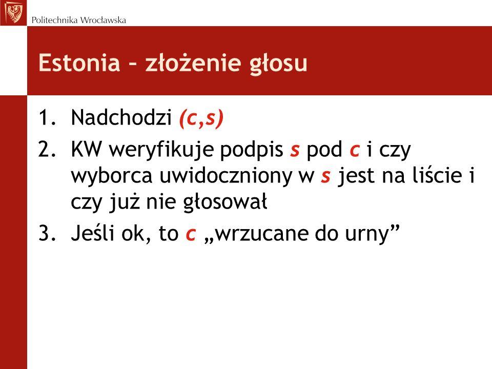 Estonia – złożenie głosu 1.Nadchodzi (c,s) 2.KW weryfikuje podpis s pod c i czy wyborca uwidoczniony w s jest na liście i czy już nie głosował 3.Jeśli