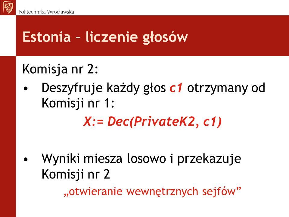 Estonia – liczenie głosów Komisja nr 2: Deszyfruje każdy głos c1 otrzymany od Komisji nr 1: X:= Dec(PrivateK2, c1) Wyniki miesza losowo i przekazuje K