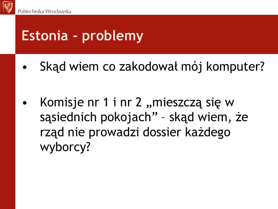 Estonia - problemy Skąd wiem co zakodował mój komputer? Komisje nr 1 i nr 2 mieszczą się w sąsiednich pokojach – skąd wiem, że rząd nie prowadzi dossi