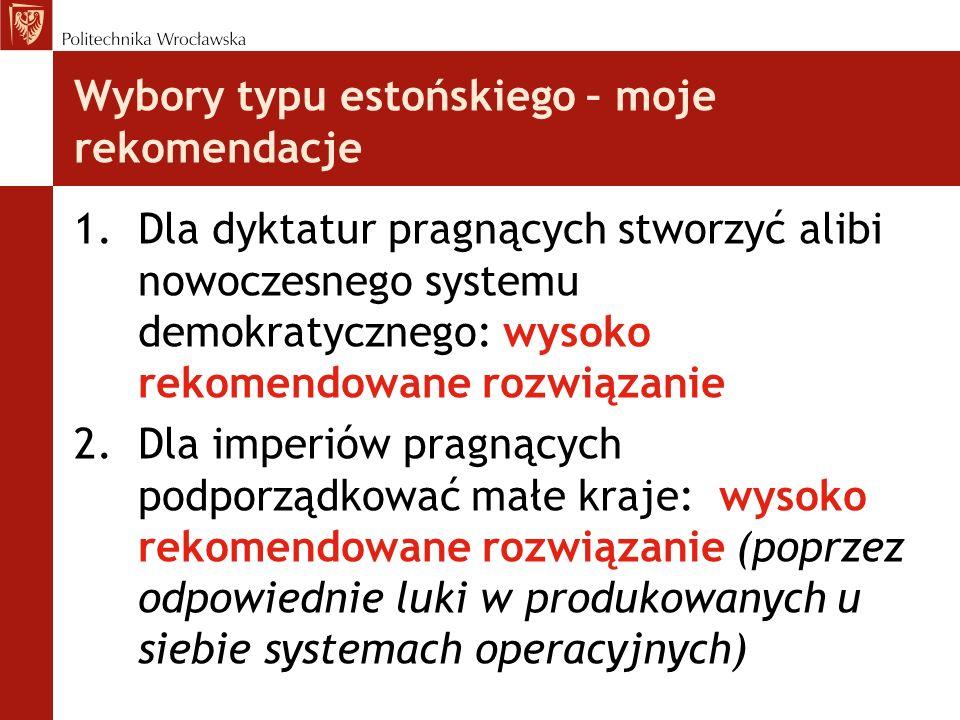 Wybory typu estońskiego – moje rekomendacje 1.Dla dyktatur pragnących stworzyć alibi nowoczesnego systemu demokratycznego: wysoko rekomendowane rozwią