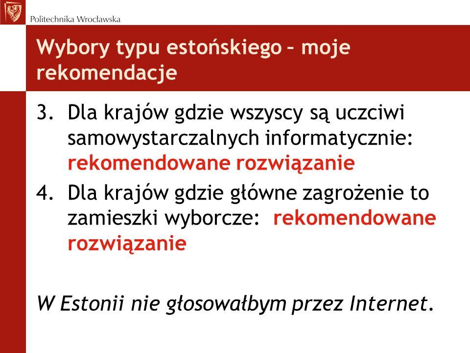 Wybory typu estońskiego – moje rekomendacje 3.Dla krajów gdzie wszyscy są uczciwi samowystarczalnych informatycznie: rekomendowane rozwiązanie 4.Dla k