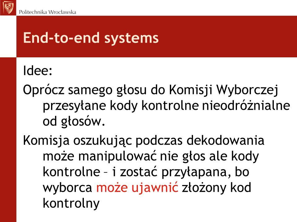 End-to-end systems Idee: Oprócz samego głosu do Komisji Wyborczej przesyłane kody kontrolne nieodróżnialne od głosów. Komisja oszukując podczas dekodo