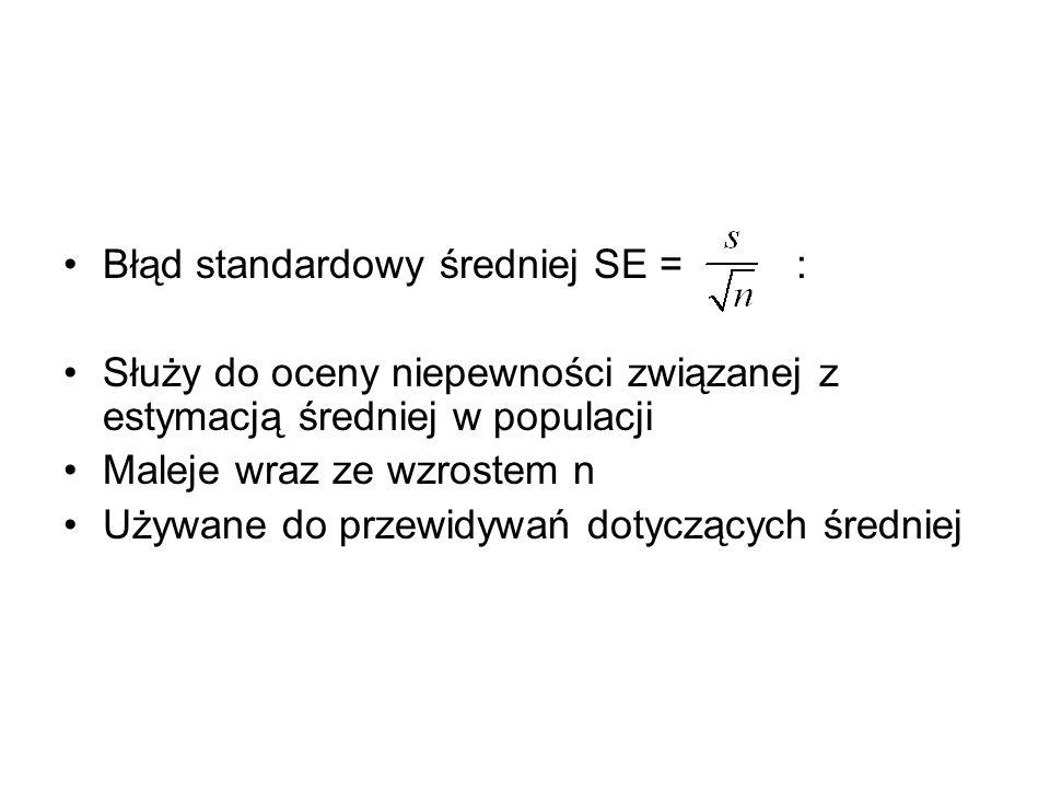 Błąd standardowy średniej SE = : Służy do oceny niepewności związanej z estymacją średniej w populacji Maleje wraz ze wzrostem n Używane do przewidywa