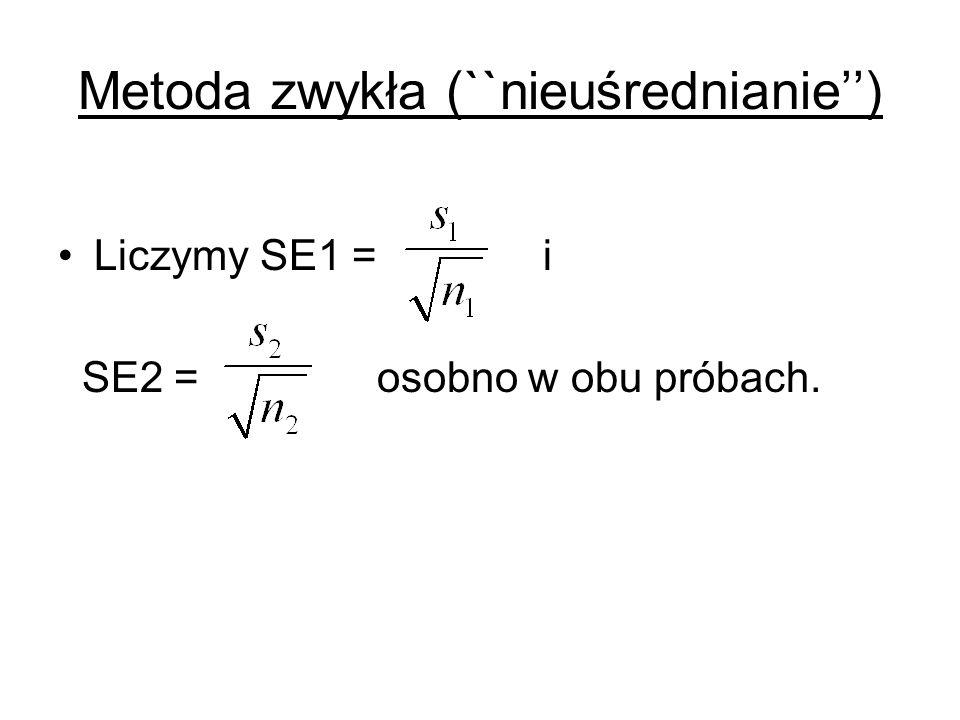 Metoda zwykła (``nieuśrednianie) Liczymy SE1 = i SE2 = osobno w obu próbach.