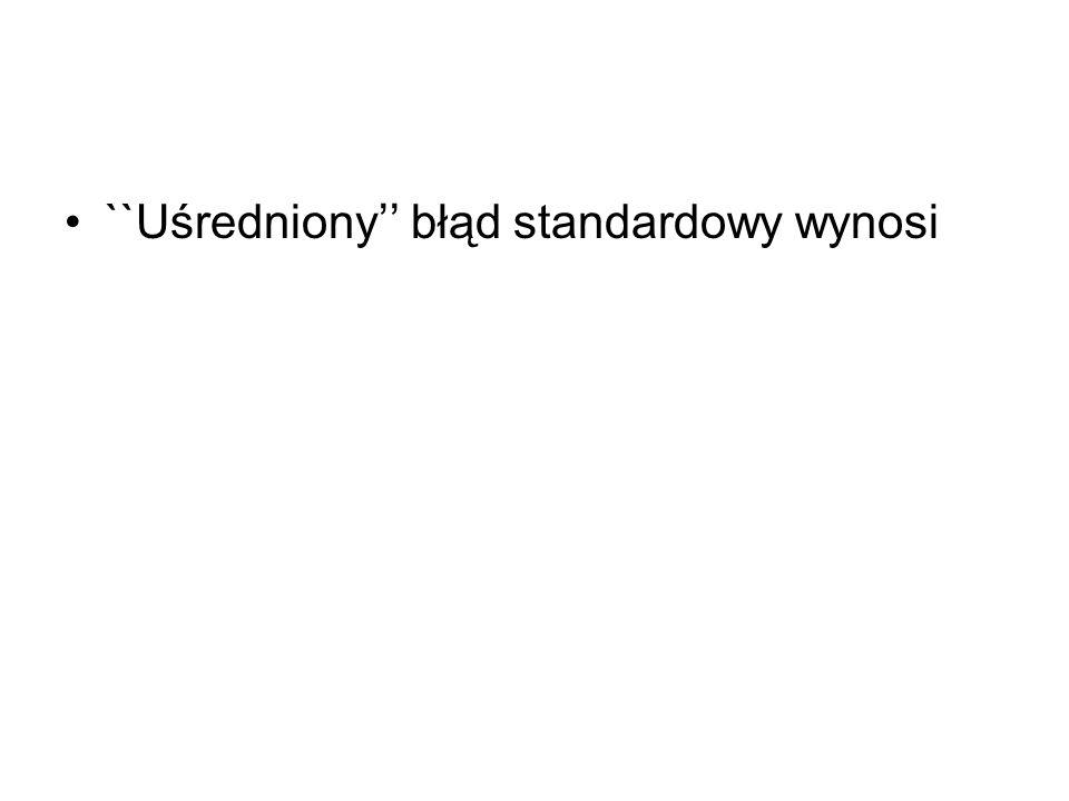 ``Uśredniony błąd standardowy wynosi