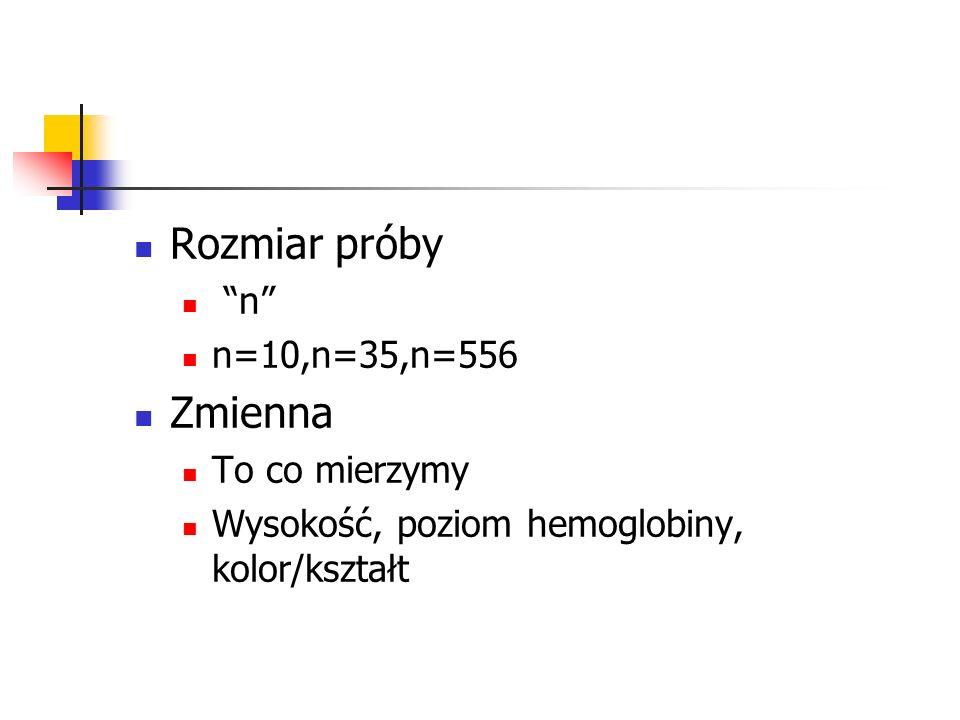 Rozmiar próby n n=10,n=35,n=556 Zmienna To co mierzymy Wysokość, poziom hemoglobiny, kolor/kształt