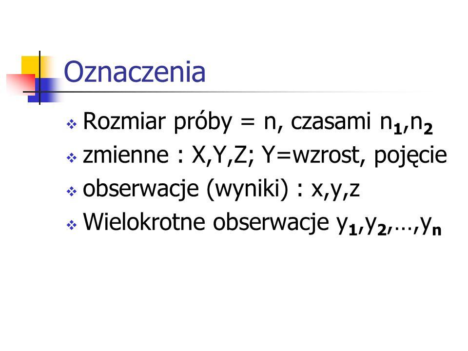 Oznaczenia Rozmiar próby = n, czasami n 1,n 2 zmienne : X,Y,Z; Y=wzrost, pojęcie obserwacje (wyniki) : x,y,z Wielokrotne obserwacje y 1,y 2,…,y n