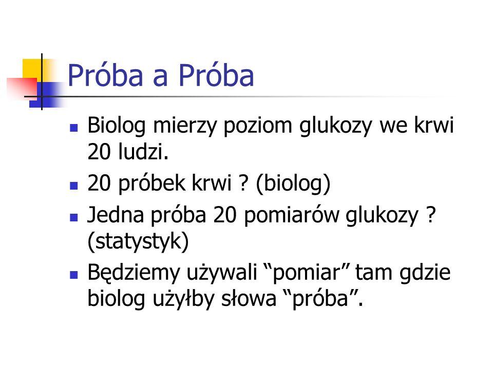 Próba a Próba Biolog mierzy poziom glukozy we krwi 20 ludzi. 20 próbek krwi ? (biolog) Jedna próba 20 pomiarów glukozy ? (statystyk) Będziemy używali